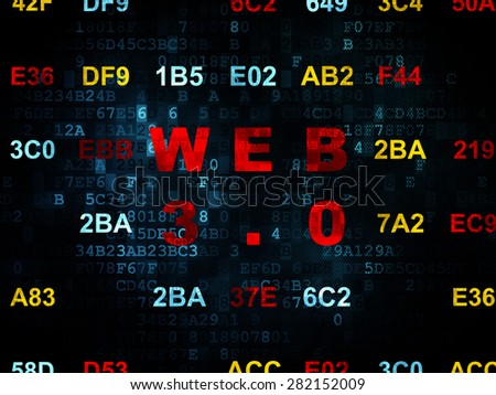 Web design concept: Pixelated red text Web 3.0 on Digital wall background with Hexadecimal Code, 3d render - stock photo