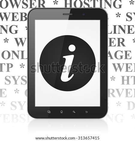 Web design concept: Tablet Computer with  black Information icon on display,  Tag Cloud background - stock photo