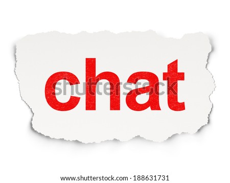Web design concept: torn paper with words Chat on Paper background, 3d render - stock photo