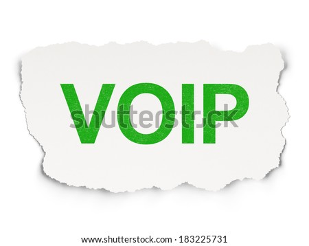 Web design concept: torn paper with words VOIP on Paper background, 3d render - stock photo