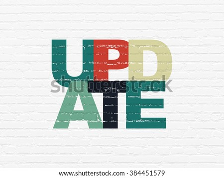 Web design concept: Update on wall background - stock photo