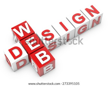 Web Design - cubes over white background