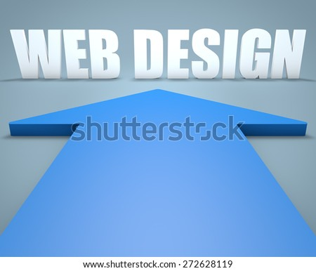 Web Design - 3d render concept of blue arrow pointing to text. - stock photo