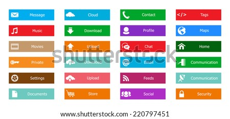 Web Design elements, buttons, icons. Templates for website - stock photo