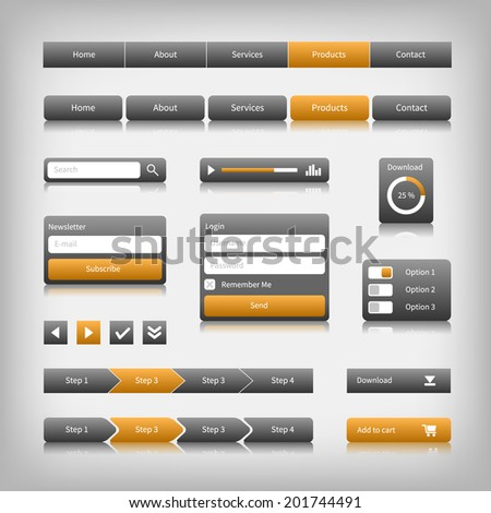 Web design elements with reflection. Login, search, 3 option. - stock photo