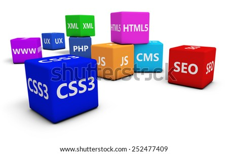 Web design, Internet and SEO concept with programming language sign on colorful cubes isolated on white background. - stock photo