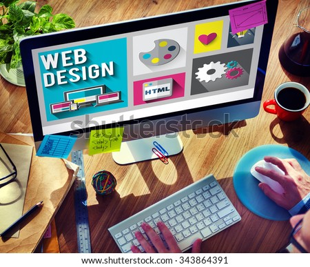 Web Design Layout Homepage Idea Design Software Concept - stock photo