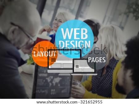 Web Design Layout Pages Development Website WWW Concept - stock photo