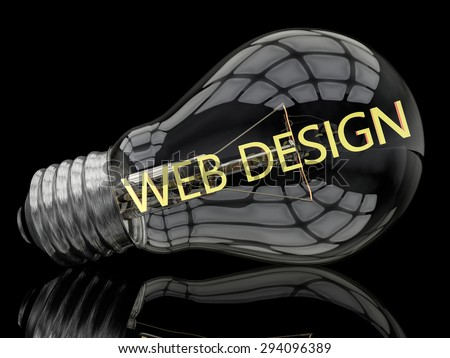 Web Design - lightbulb on black background with text in it. 3d render illustration. - stock photo