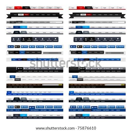 Web Design Menu Navigation Bar Website Header Element Glossy and Matte - stock photo