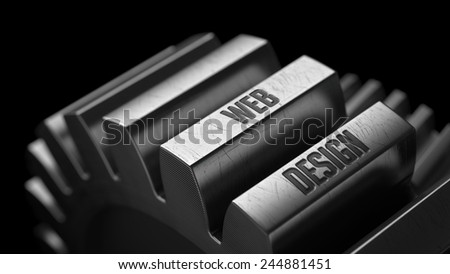 Web Design on the Metal Gears on Black Background.  - stock photo