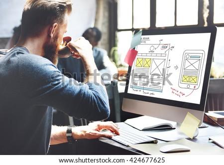 Web Design Online Technology Content Concept - stock photo