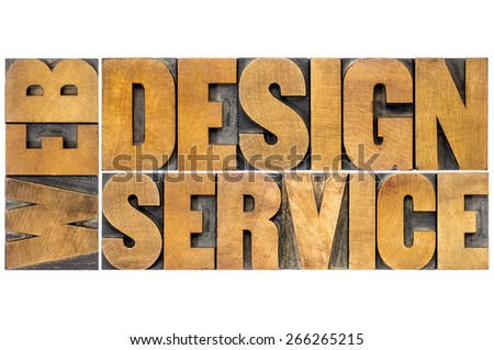 web design service word abstract - isolated text in letterpress wood type - stock photo