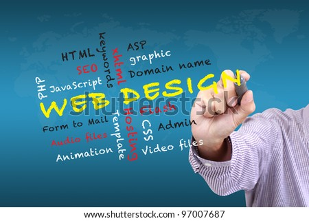 Web design teaching and other related words, handwritten on white board - stock photo
