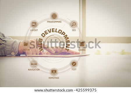 WEB DEVELOPMENT chart with keywords and icons on screen - stock photo