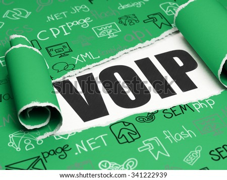 Web development concept: black text VOIP under the curled piece of Green torn paper with  Hand Drawn Site Development Icons - stock photo