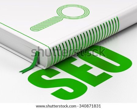 Web development concept: closed book with Green Search icon and text SEO on floor, white background, 3d render