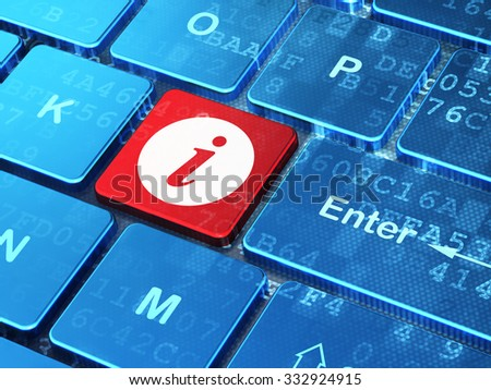 Web development concept: computer keyboard with Information icon on enter button background, 3d render - stock photo