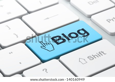 Web development concept: computer keyboard with Mouse Cursor icon and word Blog, selected focus on enter button, 3d render - stock photo