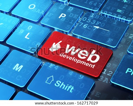 Web development concept: computer keyboard with Mouse Cursor icon and word Web Development on enter button background, 3d render - stock photo