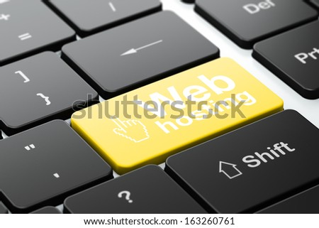 Web development concept: computer keyboard with Mouse Cursor icon and word Web Hosting, selected focus on enter button, 3d render - stock photo