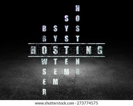 Web development concept: Glowing word Hosting in solving Crossword Puzzle in grunge dark room with Dirty Floor, black background, 3d render - stock photo