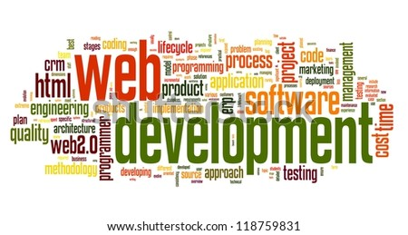 Web development concept in word tag cloud on white background - stock photo