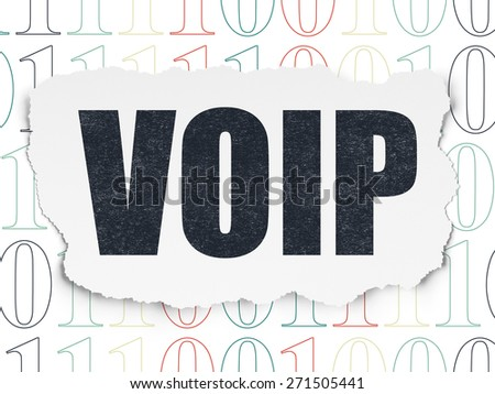 Web development concept: Painted black text VOIP on Torn Paper background with  Binary Code, 3d render - stock photo