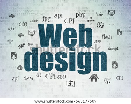 Web development concept: Painted blue text Web Design on Digital Data Paper background with  Hand Drawn Site Development Icons