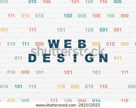 Web development concept: Painted blue text Web Design on White Brick wall background with Binary Code, 3d render - stock photo