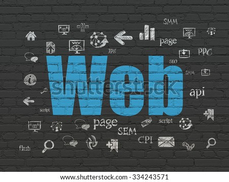 Web development concept: Painted blue text Web on Black Brick wall background with  Hand Drawn Site Development Icons - stock photo