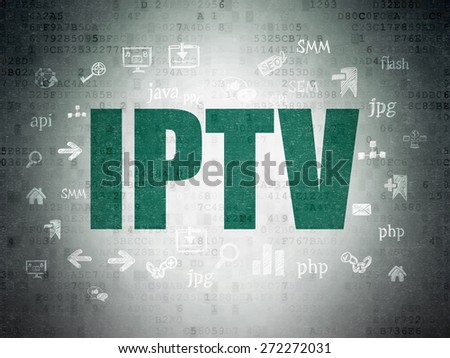 Web development concept: Painted green text IPTV on Digital Paper background with  Hand Drawn Site Development Icons, 3d render - stock photo