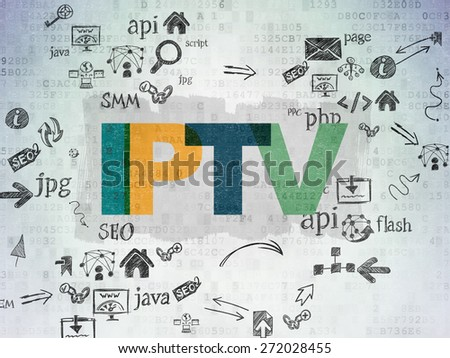 Web development concept: Painted multicolor text IPTV on Digital Paper background with Scheme Of Hand Drawn Site Development Icons, 3d render - stock photo