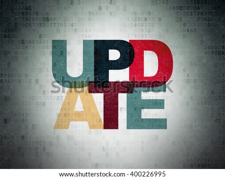 Web development concept: Painted multicolor text Update on Digital Paper background - stock photo