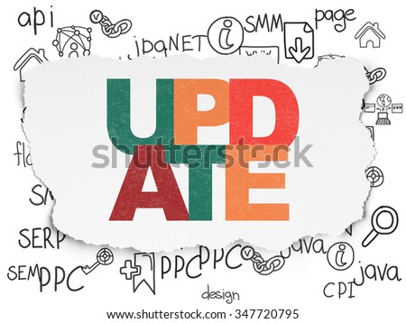 Web development concept: Painted multicolor text Update on Torn Paper background with  Hand Drawn Site Development Icons - stock photo