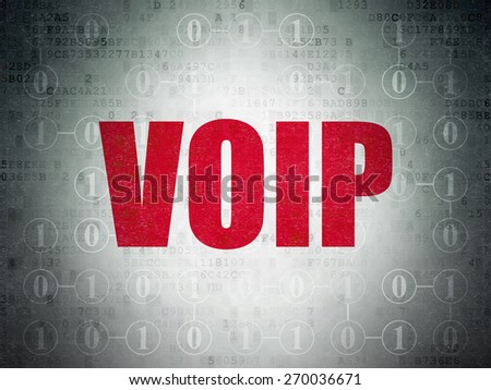 Web development concept: Painted red text VOIP on Digital Paper background with  Scheme Of Binary Code, 3d render - stock photo