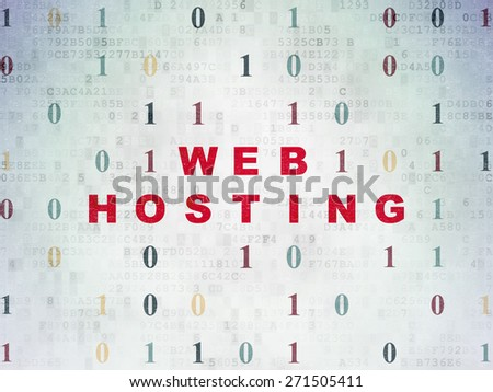 Web development concept: Painted red text Web Hosting on Digital Paper background with Binary Code, 3d render - stock photo