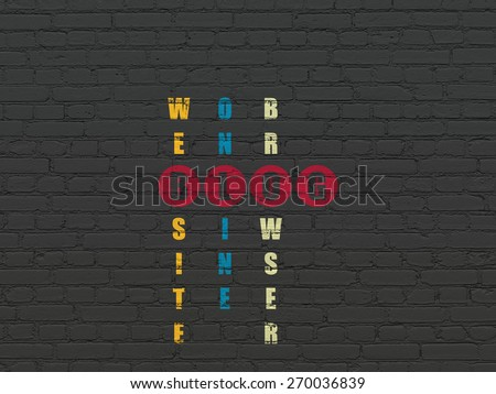 Web development concept: Painted red word Blog in solving Crossword Puzzle, 3d render - stock photo