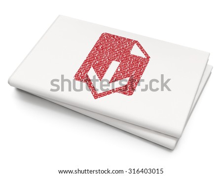 Web development concept: Pixelated red Download icon on Blank Newspaper background - stock photo