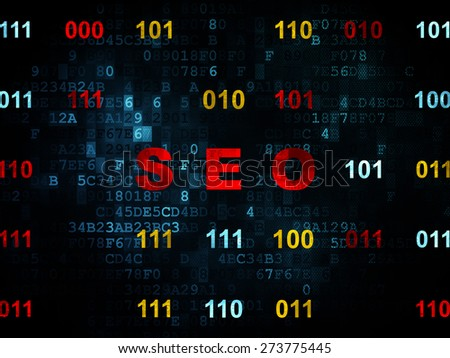 Web development concept: Pixelated red text SEO on Digital wall background with Binary Code, 3d render - stock photo