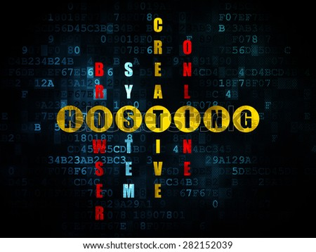 Web development concept: Pixelated yellow word Hosting in solving Crossword Puzzle on Digital background, 3d render - stock photo