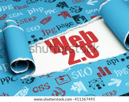 Web development concept: red text Web 2.0 under the curled piece of Blue torn paper with  Hand Drawn Site Development Icons, 3D rendering - stock photo