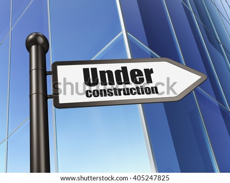 Web development concept: sign Under Construction on Building background, 3D rendering - stock photo