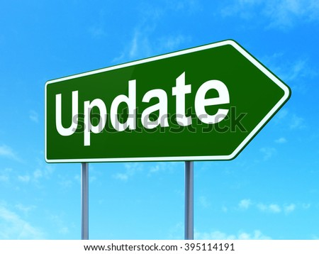 Web development concept: Update on road sign background - stock photo