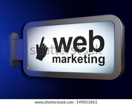 Web development concept: Web Marketing and Mouse Cursor on advertising billboard background, 3d render - stock photo