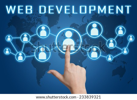 Web Development concept with hand pressing social icons on blue world map background. - stock photo