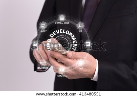 WEB DEVELOPMENT CONCEPT with Icons and Keywords - stock photo