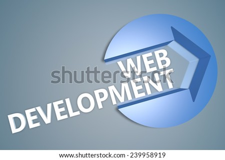 Web Development - 3d text render illustration concept with a arrow in a circle on blue-grey background - stock photo