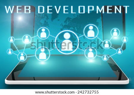 Web Development - text illustration with social icons and tablet computer and mobile cellphones on cyan digital world map background - stock photo