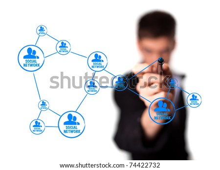 Web 2.0 diagram showing social networking concept - stock photo